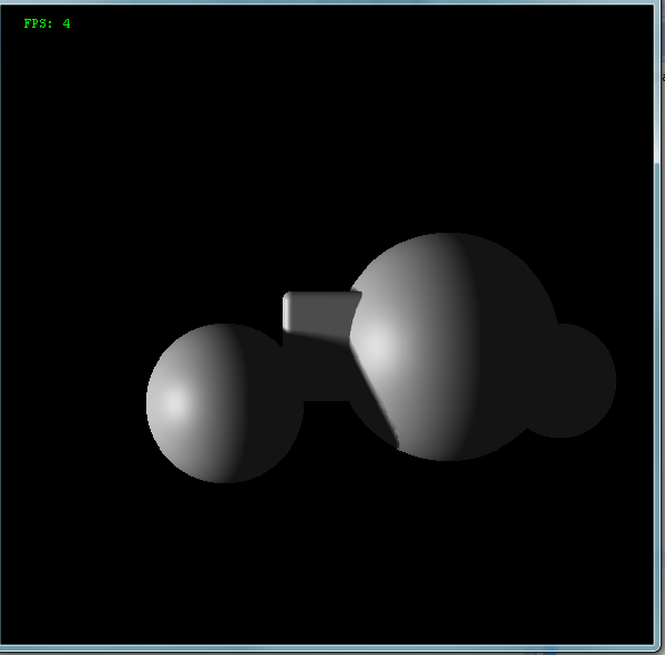 Simple ray marching example, wrong perspective, two balls and a cube